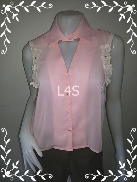 เสื้อแฟชั่น มือสอง สีชมพูโอรส แบรนด์ CPS อก 36 นิ้ว