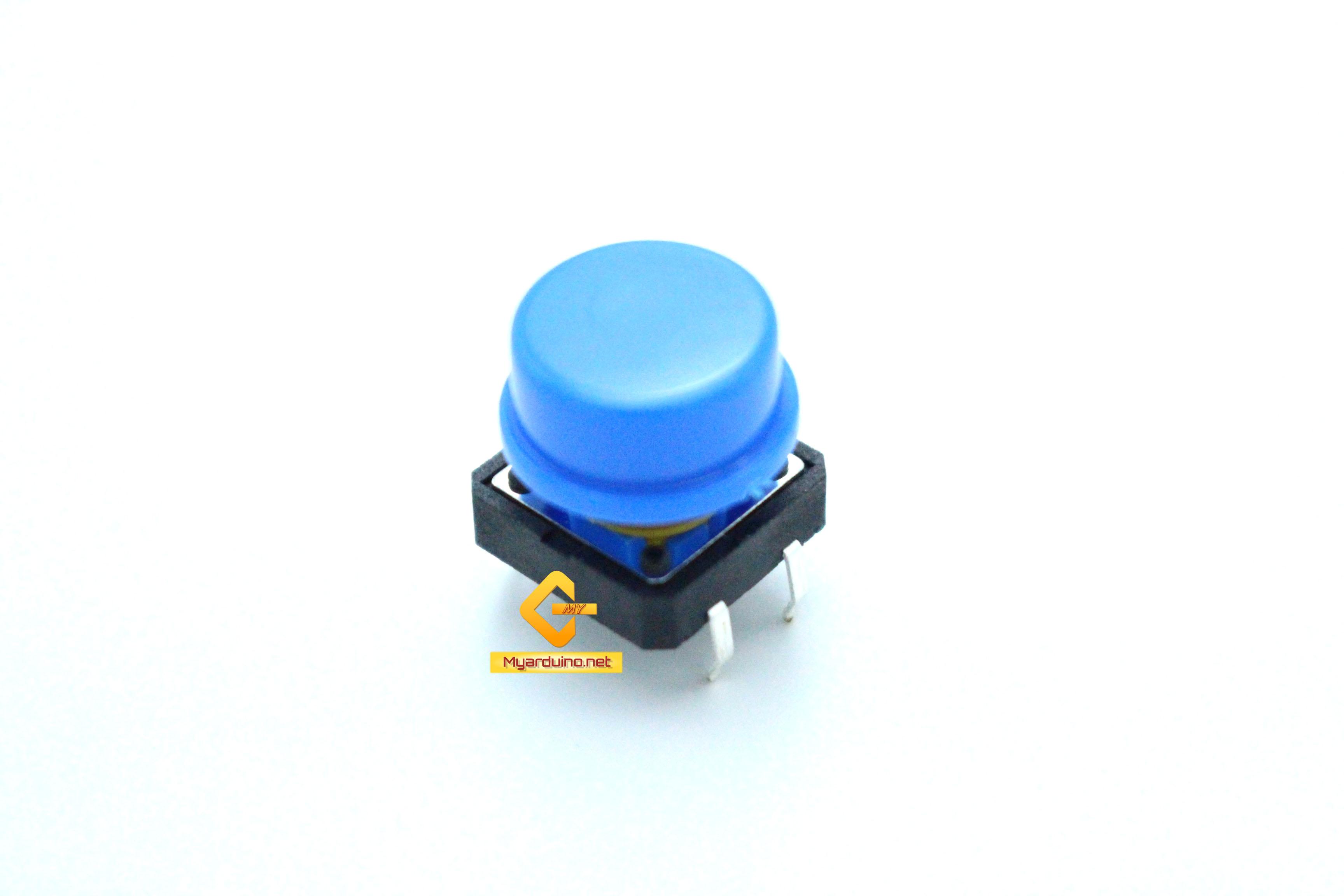 สวิตช์ ปุ่มกดติดปล่อยดับ B3F ขนาด 12 * 12 * 7.3 mm หัวสีน้ำเงิน