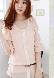 เสื้อทำงานผ้าชีฟอง คอกลม สีชมพู แขนยาว แต่งบ่า ลุคสาวทำงาน