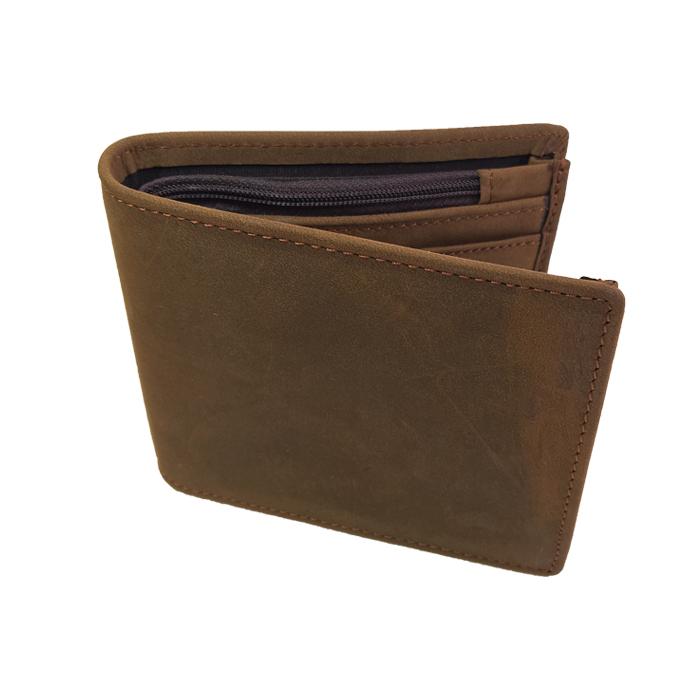 GT-8056 R กระเป๋าสตางค์ผู้ชาย ใบสั้น หนังนูบัค