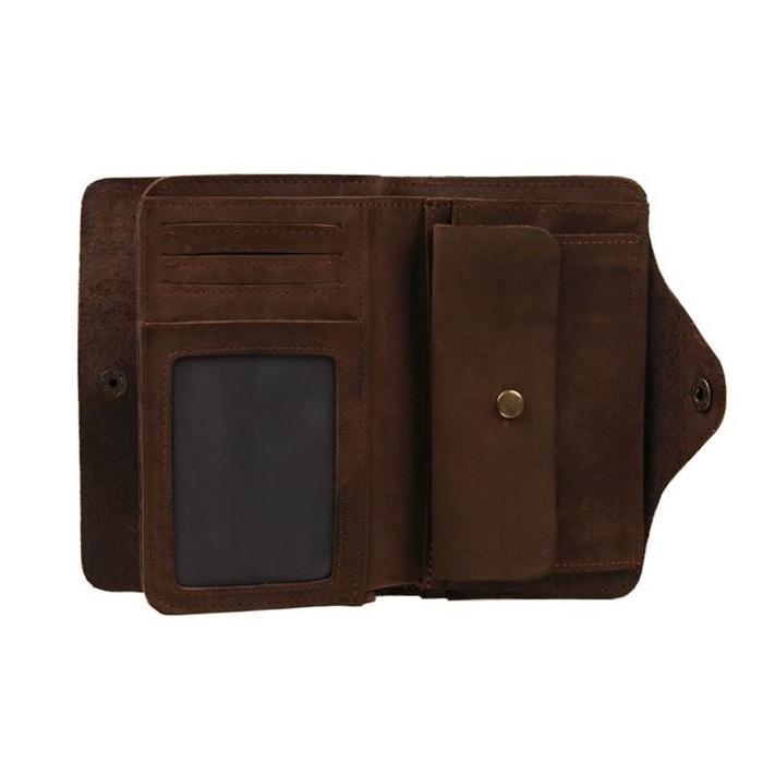 HM-8033 กระเป๋าสตางค์ ใบกลาง หนังนูบัค
