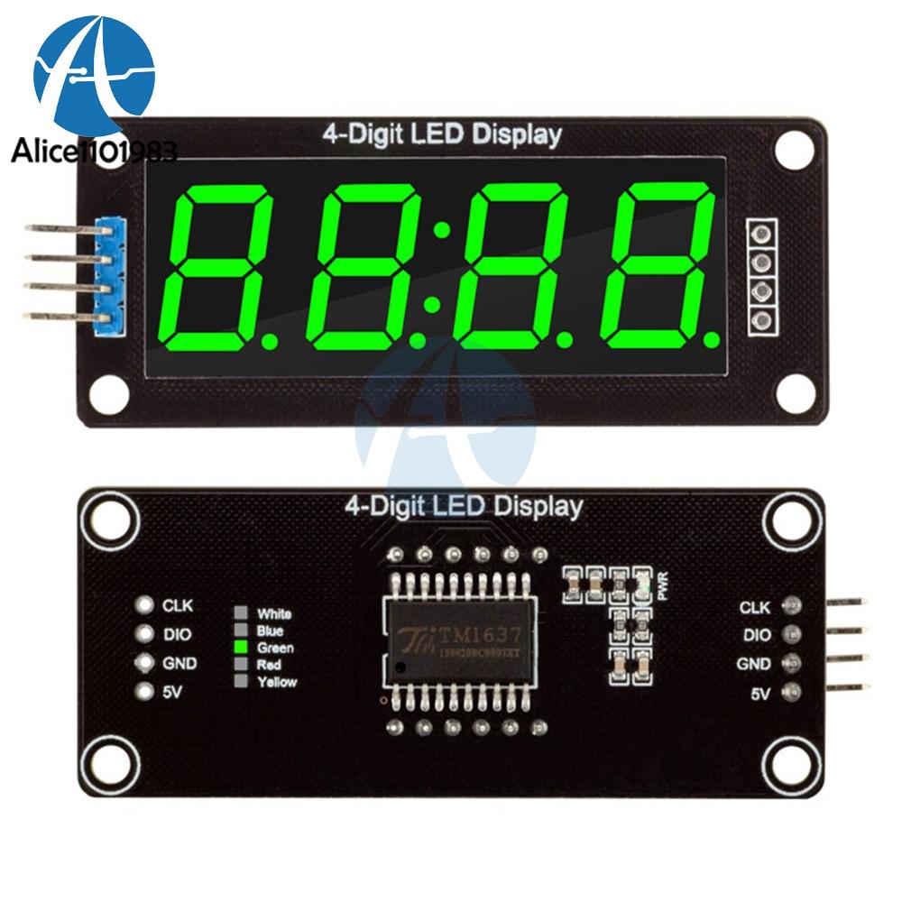 """โมดูลแสดงค่าตัวเลข 4 หลัก จุดนาฬิกา 0.56"""" TM1637 Driver สีเขียว"""