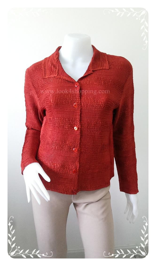 """jp2320-เสื้อเชิ้ต แฟชั่น สีแดง """"อก 36-40 นิ้ว"""""""