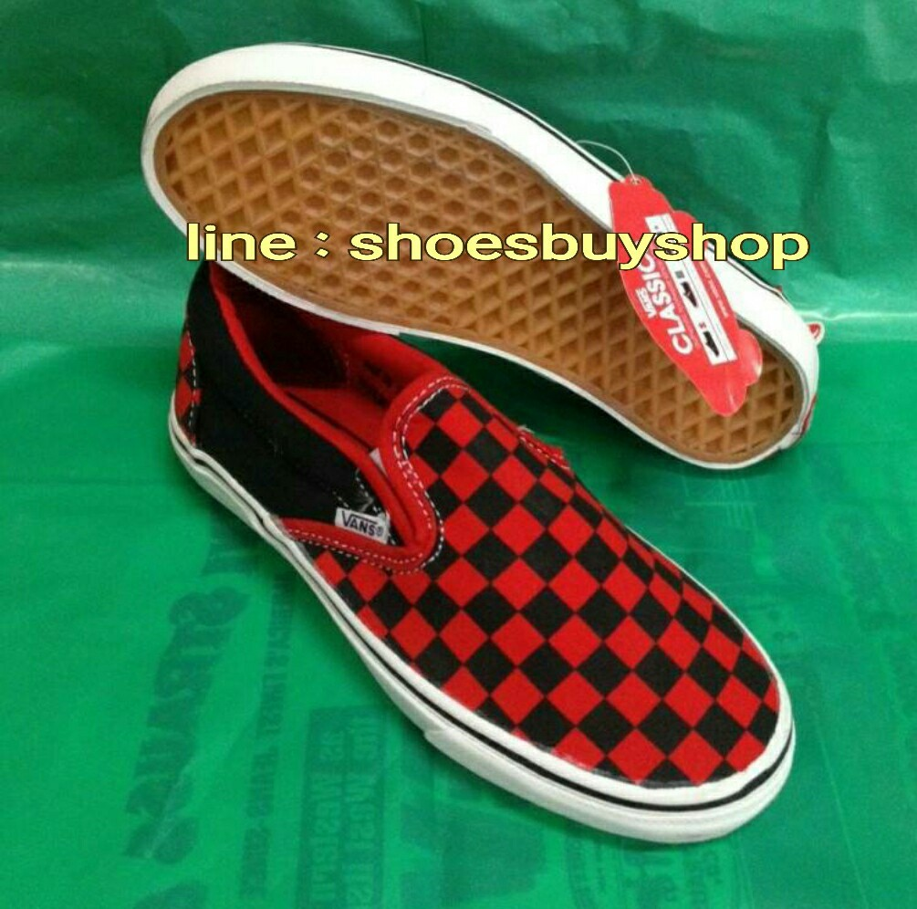 รองเท้า Van Era ลายตารางสีแดง