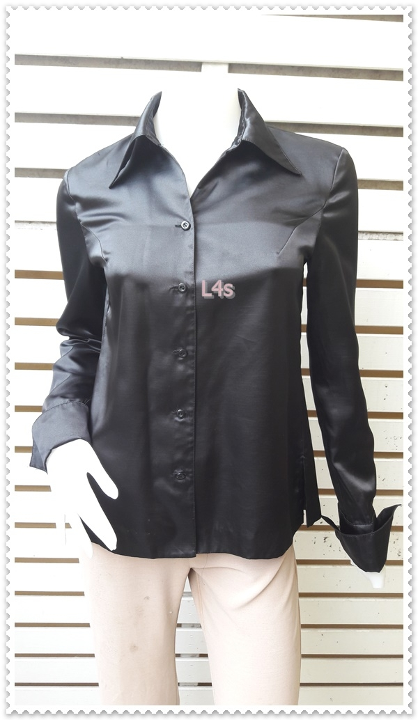 jp5054-เสื้อเชิ้ต นำเข้า สีดำ อก 34 นิ้ว
