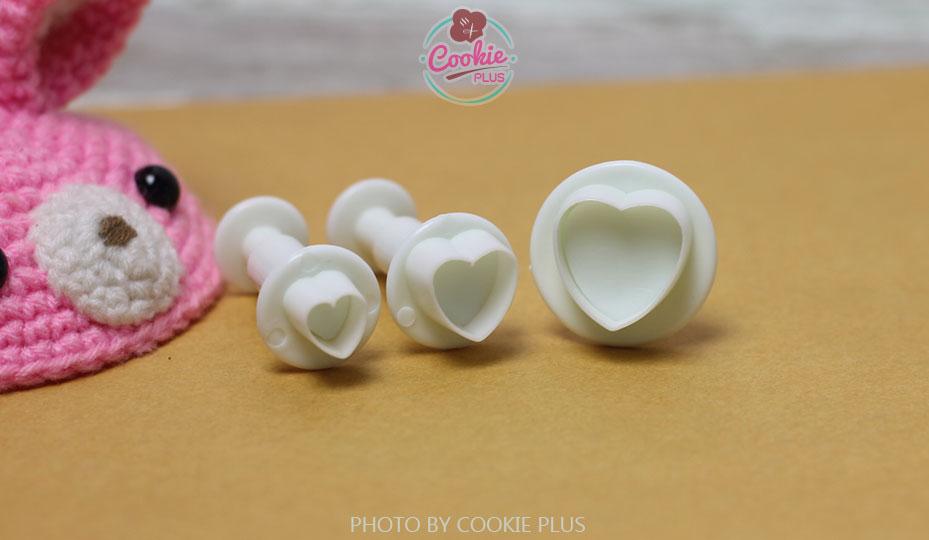 ชุดพิมพ์กดคุกกี้ / ฟองดอง รูปหัวใจ 3 ขนาด
