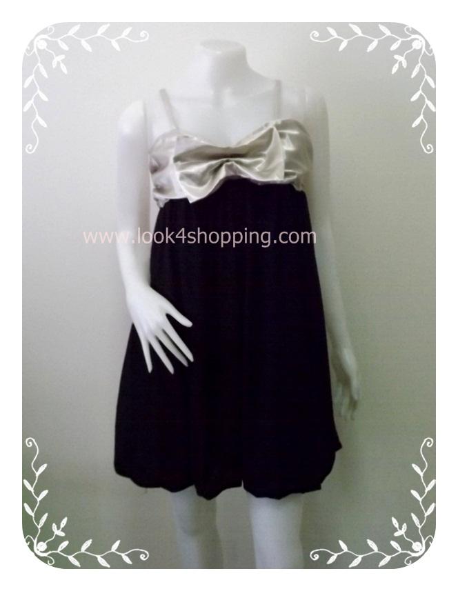 """Dress0144--เดรสแฟชั่น ชีฟอง นำเข้า สวยๆ สีกากีสลับดำ """"อก 32-34 นิ้ว"""""""