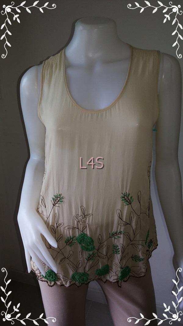 jp3810-เสื้อแฟชั่น silk นำเข้า Left of center อก 34 นิ้ว