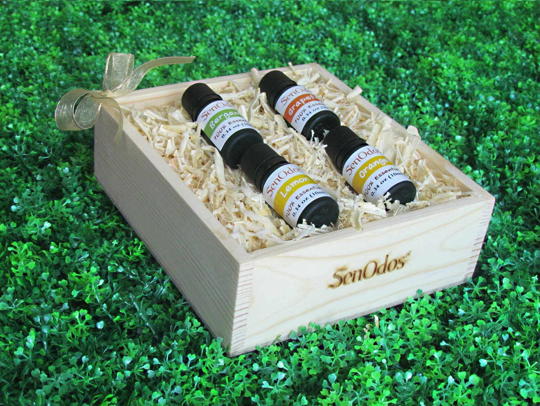SenOdos ชุดของขวัญ ชุดกิ๊ฟเซ็ท น้ำมันหอมระเหย อโรม่า กลิ่นผลไม้ Fruity Delight Set - Essential Oil 10ml x 4กลิ่น (กลิ่นเลมอน, กลิ่นส้ม, กลิ่นมะกรูด, กลิ่นเกรปฟรุต) บรรจุในกล่องไม้สน รูปทรงเหลี่ยม สวยงาม คุณภาพดี นำเข้าจากนิวซีแลนด์