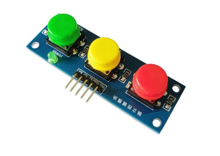 โมดูลสวิทซ์กดติดปล่อยดับ 3 ปุ่ม 3 สี สำหรับ Arduino
