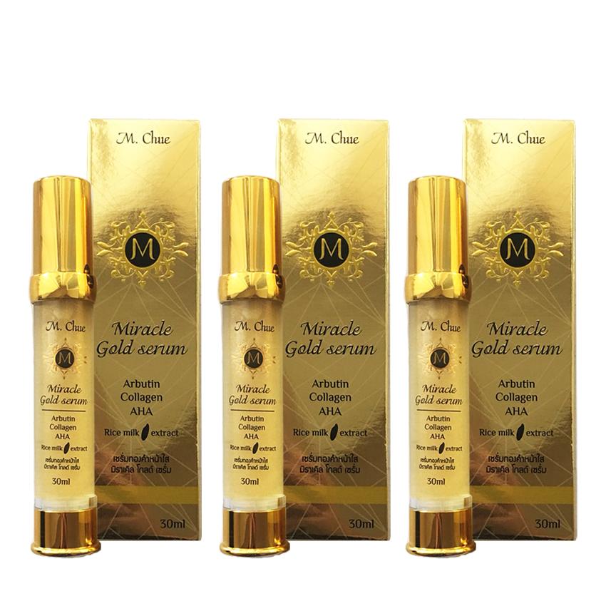 M.Chue Miracle gold serum เอ็ม.จู มิราเคิล โกลด์ เซรั่ม ผสมคลอลาเจนและอัลฟ่าอัลบูติน ช่วยให้ผิวเรียบเนียน สีผิวสม่ำเสมอ ลดจุดด่างดำ ลดรอยแดง 3 กล่อง