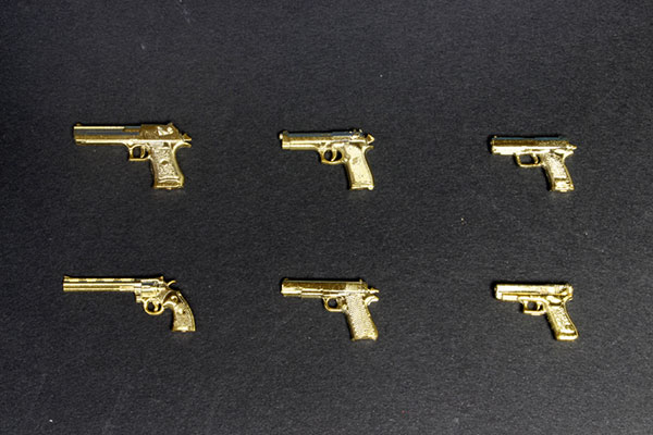 1/12 Realistic Weapon Series - Realistic Handgun (6 Types) Gold Coating ver. Plastic Model(Pre-order)