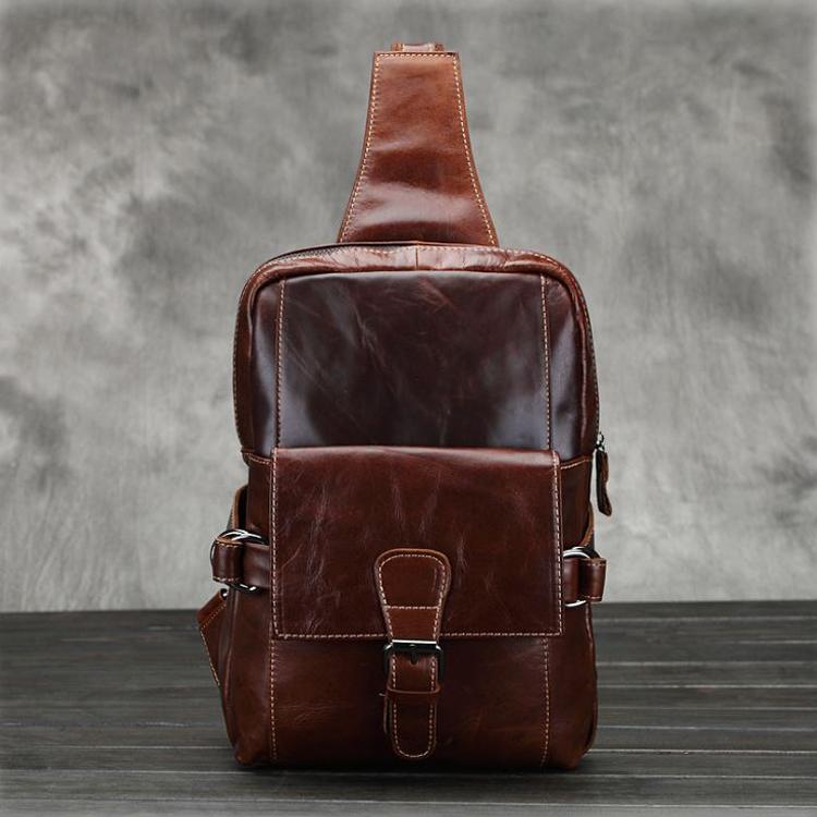 DM-8038 กระเป๋าคาดอก หนังแท้ สีน้ำตาลแดง