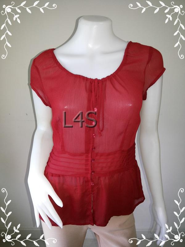 เสื้อแฟชั่น ชีฟอง สีแดง ANN taylor อก 36 -37 นิ้ว
