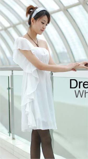 เดรสออกงาน เปิดไหล่ สีขาว แต่งระบายสวยๆ
