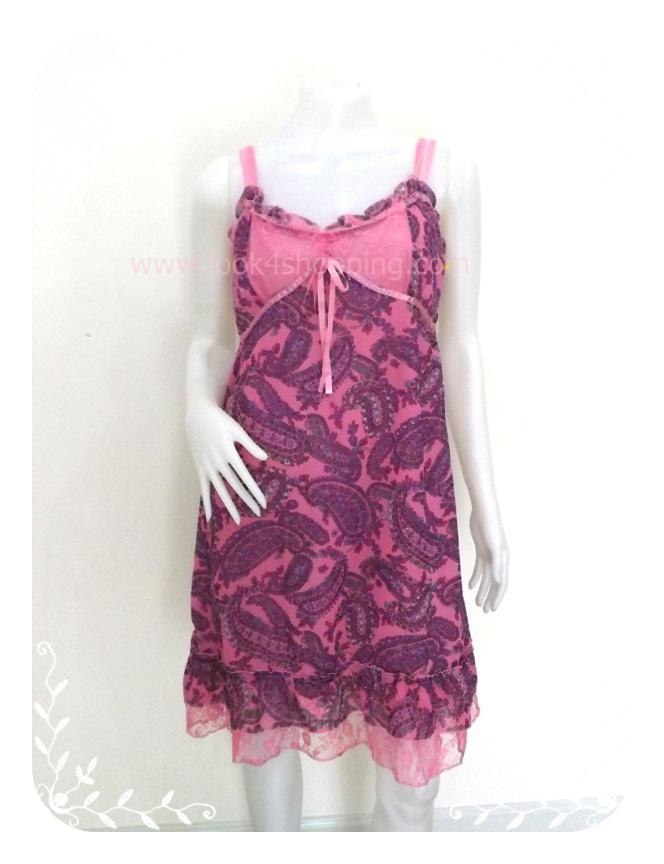 Dress0034--เดรสแฟชั่น นำเข้า สีชมพู Chou Chou อก 36 นิ้ว