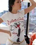เสื้อยืด แขนสั้น สีขาวพอดีตัว สกีนรูปโอลีฟ น่ารัก