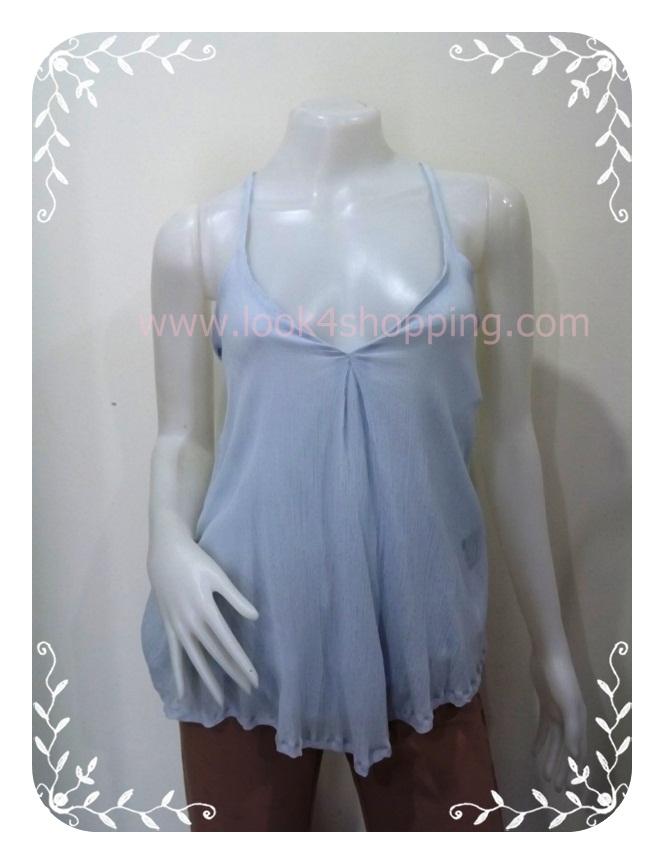 """jp1783-เสื้อแฟชั่น นำเข้า สีฟ้า Made in Korea """"อก 30-33 นิ้ว"""""""