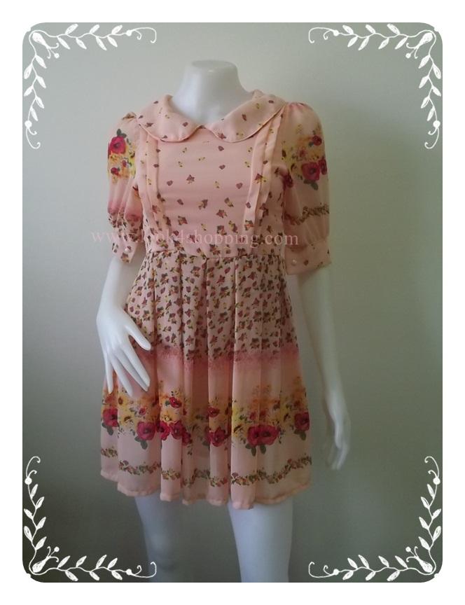 """Dress0709--เดรสแฟชั่นชีฟอง สวยๆ สีชมพูอมโอรส .""""อก 30 นิ้ว"""""""