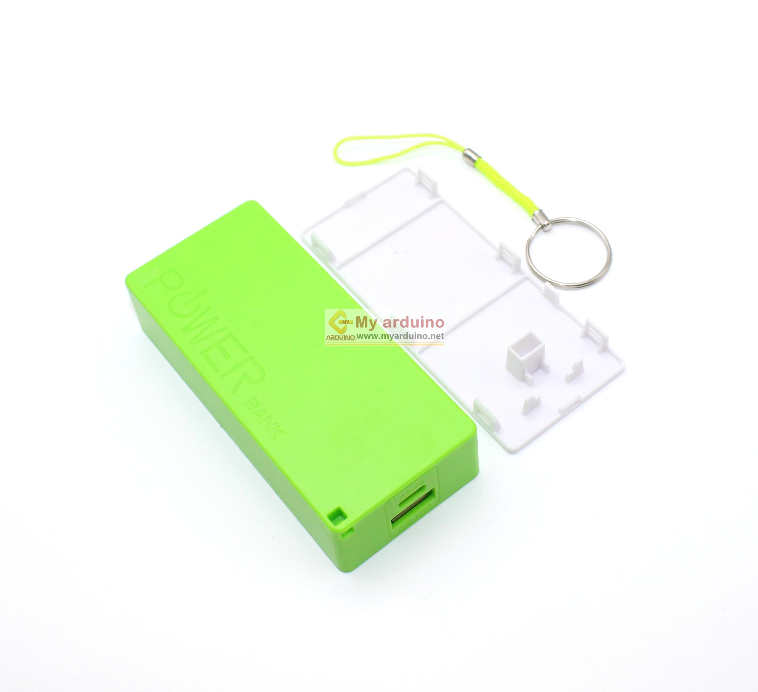 Power Bank แหล่งจ่ายไฟสำหรับ Arduino ESp8266 ชาร์จไฟผ่าน USB ถ่าน 18650 2 ก้อน สีเขียว