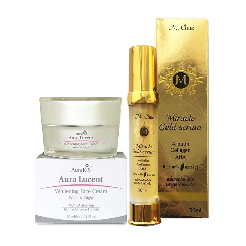 AuraRIS ครีมบำรุงผิวหน้า ครีมบำรุงผิวขาว ครีมหน้าขาว ขาวสวยใส ลดสิว ฝ้า กระ จุดด่างดำ Whitening Face Cream + M.Chue Miracle gold serum เอ็ม.จู มิราเคิล โกลด์ เซรั่ม ผสมคลอลาเจนและอัลฟ่าอัลบูติน ช่วยให้ผิวเรียบเนียน สีผิวสม่ำเสมอ ลดจุดด่างดำ ลดรอยแดง