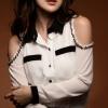 เสื้อเชิ๊ตทำงาน คอปก แขนยาว เว้าไหล่แต่งลูกปัด สีขาว ช่วงปกสีดำ