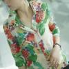 เสื้อลายดอก คอปกเชิ๊ต ผ้าชีฟอง แขนสามส่วน โทนเขียว