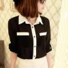 เสื้อเชิ๊ตทำงาน ชีฟอง สีดำ แขนยาวพับได้ติดกระดุม ตัดขอบสีขาว น่ารัก