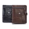 OP-8837 กระเป๋าสตางค์ผู้ชาย ใบสั้น หนังแท้ สีดำ-น้ำตาล