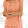 เสื้อแฟชั่น เสื้อชีฟอง Size M ตัวยาวคลุมสะโพก จั๊มเอว แขนดอกบัว สีโอรส สวยๆ