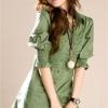เสื้อแฟชั่น เสื้อเชิ๊ตทำงาน สีเขียว จับจีบหน้าอก สม๊อกแขนเล็กน้อย