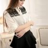 เสื้อแฟชั่น เสื้อคอจีน สีขาวแขนยาว แต่งผ้าบางช่วงอก แต่งมุก