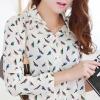 เสื้อเชิ๊ตสตรีทำงาน คอปก แขนยาว สีขาวครีม ลายนก ผูกด้านหน้า Size L