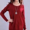 เสื้อกันหนาว สีแดง คอกลมแขนยาว ตัวยาวคลุมสะโพก