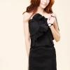 เดรสเกาะอก แต่งผ้าจับจีบสวยงาม สม๊อกหลัง สีดำ