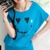 เสื้อยืดสีฟ้า สกรีนรอยยิ้ม Smile and Love สวยเท่ห์