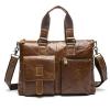 OP2260 B กระเป๋าสะพายข้างผู้ชาย หนังแท้ สีน้ำตาล