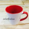 แก้วขาว ทรงกรวย ข้างในและหูจับเป็นสีแดง inner rim