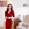 [พร้อมส่ง]เดรสไสตล์เกาหลี ดีเทลผ้าค๊อตตอนจับย่นป้ายข้างทรงเข้ารูปผ้าคุณภาพดีการตัดเย็บเรียบร้อยสวยเหมือนแบบค่ะรหัส MN6