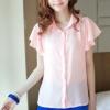 เสื้อเชิ๊ต คอปก size M สีชมพู แขนย้วย ตกแต่งช่วงปกและแขนเสื้อ