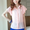 เสื้อเชิ๊ต คอปก size L สีชมพู แขนย้วย ตกแต่งช่วงปกและแขนเสื้อ