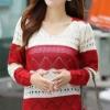 Sweater เสื้อกันหนาวแขนยาวลายขวาง แถบใหญ่ สีแดงสลับขาวครีม แขนแต่งฉลุ น่ารัก