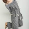 กางเกงเอี้ยมสีเทา สายเดี่ยว แต่งกระดุมและระบาย (พร้อมสายคาดเอว)
