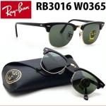 แว่นกันแดด RayBan Clubmaster RB3016 W0365 กรอบดำ เลนส์ G-15 size 51 mm