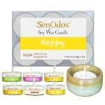 SenOdos Emotional Scented Soy Candles Aroma Happy (กลิ่นแห่งความสุข) เทียนหอมอโรม่า (แพ็ค 6 ชิ้น) + เชิงเทียน ที่วางเทียนทีไลท์ ศิลาดล (เซลาดล) สีเขียวหยกขอบทอง
