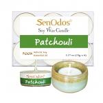 SenOdos เทียนหอม อโรม่า เทียนทีไลท์ Tealight Set Patchouli Soy Candles เทียนหอมอโรม่า - กลิ่นแพทชูลีแท้ 15 g. (6 ชิ้น) + เชิงเทียน ที่วางเทียนทีไลท์ ศิลาดล (เซลาดล) สีเขียวหยกขอบทอง