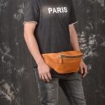 RV-6079 กระเป๋าคาดเอวใบใหญ่ หนังนิ่ม สีน้ำตาลส้ม