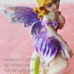 ของแต่งบ้านวินเทจ ตุ๊กตาเรซิ่นภูติสาวตัวน้อย สีม่วง
