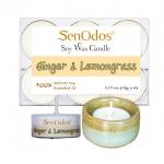 เทียนหอม เทียนทีไลท์ อโรม่า Ginger + Lemongrass Tealight Soy Candle Aroma 15g x6 PCS - กลิ่นขิง + ตะไคร้ + เชิงเทียน ที่วางเทียนทีไลท์ ศิลาดล (เซลาดล) สีเขียวหยกขอบทอง