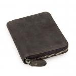 GT-8083 กระเป๋าสตางค์ หนังนูบัค ใบกลาง สีเทาดำ